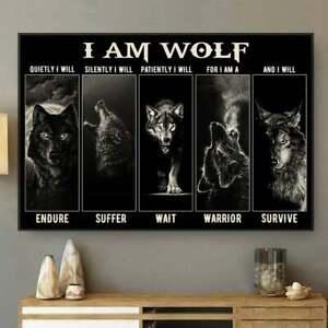 Wolf, I Am Wolf Horizontal Poster Unframed Inspirational Wolf Wall Art Print