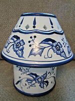 Blue and white toile candle jar holder and shade 2 piece