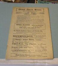 1904 Cincinnati Grand Opera House Dorothy Vernon of Haddon Hall Theatre Program