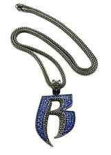 "NEW ICED OUT RUFF RYDER ""R"" HIP HOP PENDANT 4mm/36"" FRANCO CHAIN NECKLACE XP860"