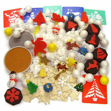 Christmas Craft Set box 150 items Stencils Paint Wooden Shapes Polystyrene Kids