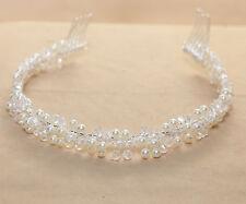 Bridal Wedding Bride Rhinestone Crystal Swarovski Pearl tiara Headband Combs