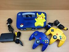 Pokemon Pikachu N64 Nintendo 64 Console Bundle Wires Game Controllers READ