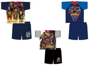 Boys Girls Kids Avengers Infinity War Shorts Pyjamas Nightwear PJs Short Sleeve