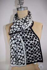 "NWT COACH Black Pale Gray Signature ""C"" Merino Wool Blend REVERSIBLE Knit Scarf"