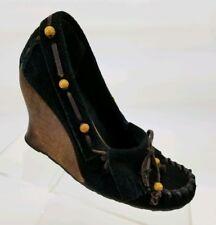 f3e0f3bf8b263 SAM EDELMAN Angelina Women s Wedge Pumps Sz 7.5 M Black Suede Leather  Moccasin