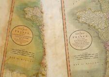 1799 + 1806 Large Antique Map Chart John Cary France Lot (x2)