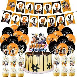 48 pcs Set Anime Naruto Birthday Party Decorations Uchiha Sasuke Party Supplies