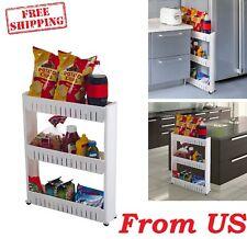 Kitchen Cart Organizer Bathroom Laundry Storage Shelf Rolling Slide Out Pantry