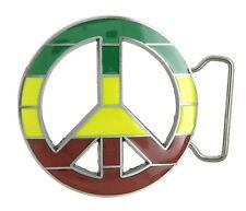 Peace Sign Symbol Rasta Flag Metal Belt Buckle