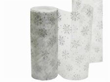 """Snowflakes on Silver SHEER ORGANZA FABRIC 6"""" x 10 yards Crafts Sewing Winter"""
