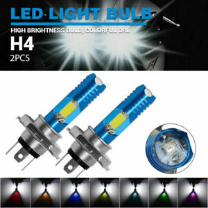 H4 9003 HB2 LED Bulb HID Hi/Low Beam Colorful Motorcycle Headlight DRL SUV ATV