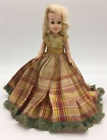 Vintage 1950s Plastic Doll PMA Lestoil Scottish Lassie Plaid Dress Blonde 7.5""