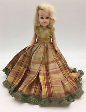 "Vintage 1950s Plastic Doll Pma Lestoil Scottish Lassie Plaid Dress Blonde 7.5"""