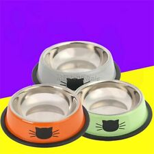 1/3x Pet Feeder Stainless Steel Dog Puppy Cat Water Container Food Bowl Non-skid