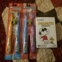 Kids Peanuts Lot GIFT IDEA Snoopy  Bandaids Toothbrushes NOS Joe Cool Box