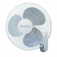 "Comfort Zone CZ16W Oscillating 16"" 3-Speed Wall-Mount Fan"