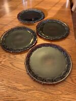 """Vintage Set of 4 Avon Cape Cod Ruby Red Glass 10 3/4"""" Dinner Plates"""