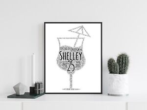 Personalised A4 Word Art Cocktail Glass Party Gift Photo Picture Print Image