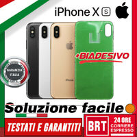 VETRO+BIADESIVO BACK COVER SCOCCA POSTERIORE per APPLE IPHONE XS RETRO HOUSING!!
