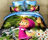 Masha et ours Lit Housse de couette Drap Taies d'oreiller Duvet Couverture