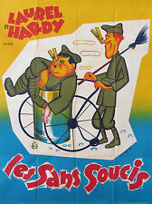 1950s LARGE VINTAGE FRENCH MOVIE POSTER, LAUREL AND HARDY FILM LES SANS SOUCIS