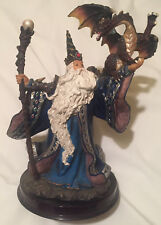"Wizard with Staff and Dragon Figurine 10.25"" tall, Nice"