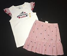 NWT Gymboree Girls ALL AMERICAN CUTIE Fourth of July Skirt Top Outfit Red Blue