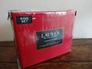 RALPH LAUREN Dunham ADMIRAL RED KING Cotton SATEEN XDP SHEET Set 300TC