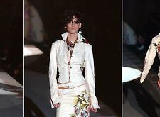 9K Auth ROBERTO CAVALLI COUTURE 2PC Cream SUIT Skirt & Jacket LEATHER Inserts