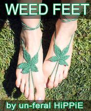 Crochet barefoot sandals - Origian WEED FEET - Grass Green Marijuana leaf