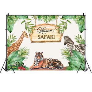 Jungle Animal Safari Backdrop Tiger Happy Birthday Party Photo Background Banner