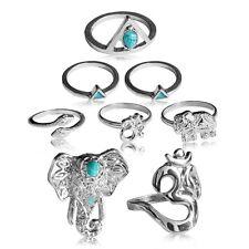 Set Fingerring Ring Fingerspitzenring Knuckle Nagelring Obergelenkring Silbern