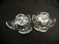 PAIR OF MATCHING CLEAR GLASS FLORAL TAPER CANDLE HOLDERS CANDLESTICK PETALS