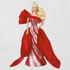 Hallmark 2019 Holiday Barbie Doll Ornament Red & White Peppermint Stripe