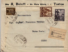 10 c+1,75 L. IMPERO+5 c IMPERIALE-Raccomandata Torino N12->Cuneo 10.3.1939