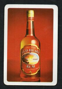 One Single Playing Swap Card :   ADVERTISING RED HEART RUM
