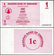 ZIMBABWE 1 CENT 2006 (2007) BEARER CHEQUE P 33 UNC