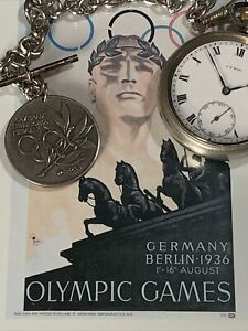 WW2 German 1936 Olympic Pocket Watch In Chain With Medal Stunningly Rare FWO 99p