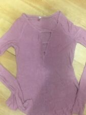 NWT Free People Bae Bae Top Stretch Sexy V Neck Sheer Purple Black Stretch