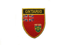 ONTARIO  SHIELD CANADA PROVINCIAL FLAG WITH GOLD TRIM IRON-ON PATCH CREST BADGE