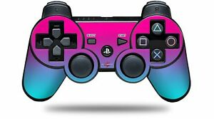 Skin for PS3 Controller Smooth Fades Neon Teal Hot Pink CONTROLLER NOT INCLUDED