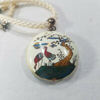 """Cloisonne Puff Pendant Crane Necklace 2 Sided Rope Cream 16"""""""