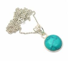 925 SOLID STERLING SILVER TURQUOISE CHAIN PENDANT-16 INCH O c411