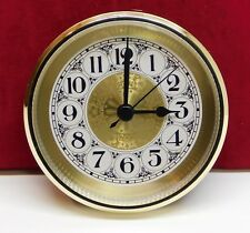 """Complete Clock Insert Fit Up Movement 3 1/2"""" Diameter Fancy Gold Dial GGFA3.5"""
