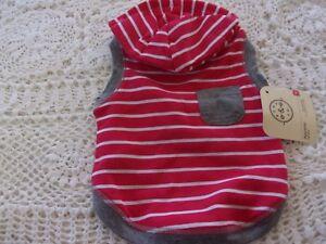 Red Striped Gray Pocket Dog Hoodie XS S Pet new Bond & Co xsmall sweat shirt