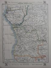 1912 MAP ~ CENTRAL AFRICA WEST ANGOLA BELGIAN CONGO