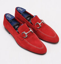 New $900 SUTOR MANTELLASSI Red Velour Calf Suede Bit Loafer US 7 D Shoes