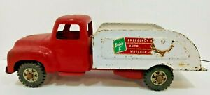 Vintage Buddy L Wrecker, Tow Truck Toys Red/White Missing the Winch