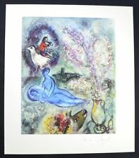 Marc Chagall, Hand Signed Helio Lithograph (blue couple), with COA.